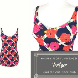 Vintage Poppy Print Jantzen Pin up Girl Swim Suit